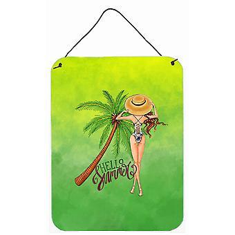 Bonjour Summer Lady en maillot de bain mur ou une porte suspendue imprime