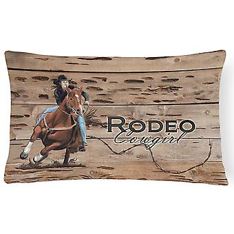 Rodeo Cowgirl Barrel Racer   Canvas Fabric Decorative Pillow