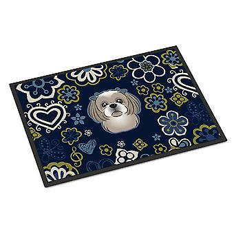 الزهور الزرقاء الرمادية الفضية شيه تزو الأماكن المغلقة أو في الهواء الطلق حصيرة 18 × 27