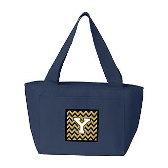 Letter Y Chevron Navy Blue and Gold Lunch Bag