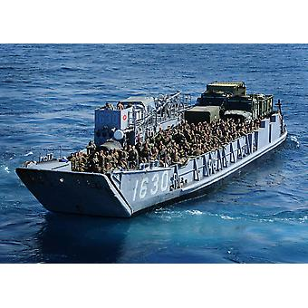 Marines transit the Pacific Ocean in a Landing Craft Utility boat Poster Print by Stocktrek Images