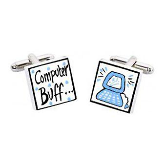 Computer Buff Cufflinks by Sonia Spencer, in Presentation Gift Box. Hand painted