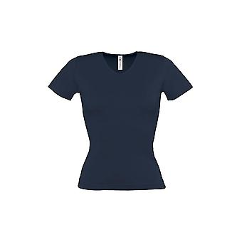 B&C Womens/Ladies Watch Plain Short Sleeve V Neck T-Shirt