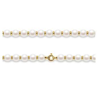 Naisten Choker kaula koru valkoinen viljellyt helmet ja helmet keltaisella kullalla 750/1000