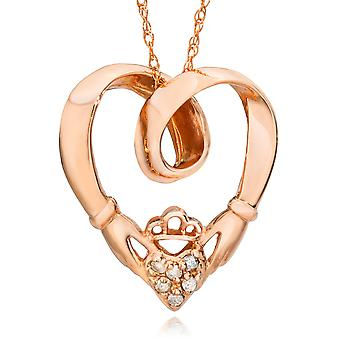 Claddagh Diamond anheng 14K Rose Gold