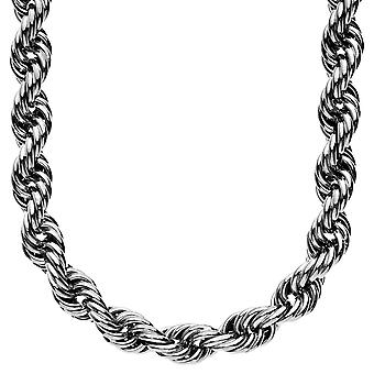 Heavy solid rope cord chain - 10 mm - 90 cm high gloss black