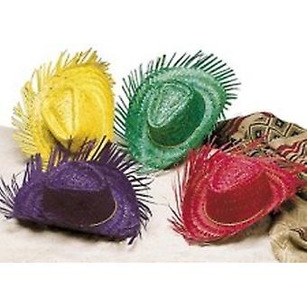 Coloured Straw Beachcomber Hats - Pack of 4
