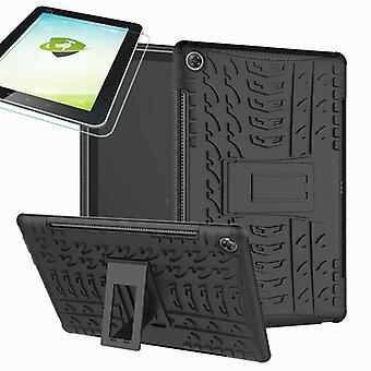 Für Huawei MediaPad M5 10.8 und 10.8 Pro Hybrid Outdoor Schutzhülle Schwarz Tasche + 0.4 H9 Schutzglas