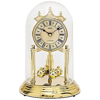 Tischuhr mit Drehpendel Jahresuhr Drehpendeluhr Quarz golden