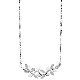 Necklace necklace leaves stainless steel with glitter effect 46 cm chain