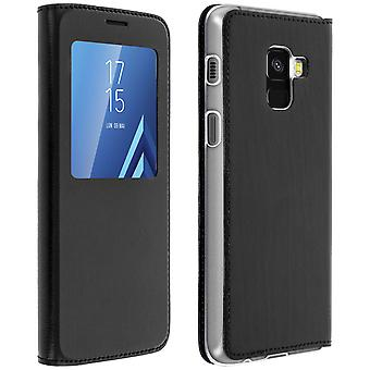 Smart view window flip case for Samsung Galaxy A8, slim cover - Black
