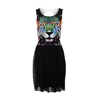 Новые дамы тигр печати фигурист сетки выстроились вырез обратно женщин платье