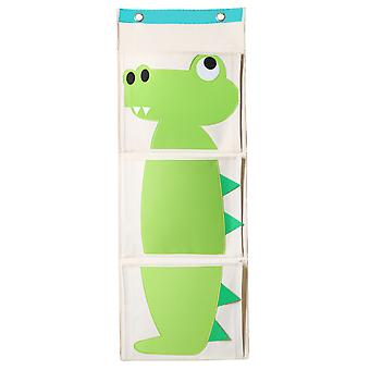 TRIXES Green Crocodile Canvas 3 Section Toy and Book Organiser - Perfect Space Saver for Toy rooms