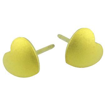 Ti2 titaani geometrinen sydän korvakorut - sitruunan keltainen