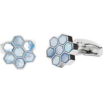 Simon Carter Mother Of Pearl Honeycomb Cufflinks - Blue