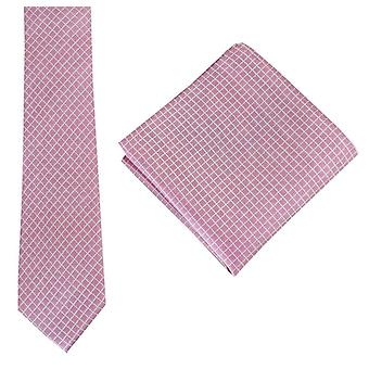 Knightsbridge Neckwear Check Tie and Pocket Square set - Pink