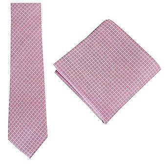 Ensemble de Knightsbridge Neckwear vérifier cravate et mouchoir de poche - rose