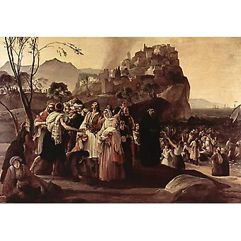 The Refugees of Parga,Francesco Hayez,60x40cm