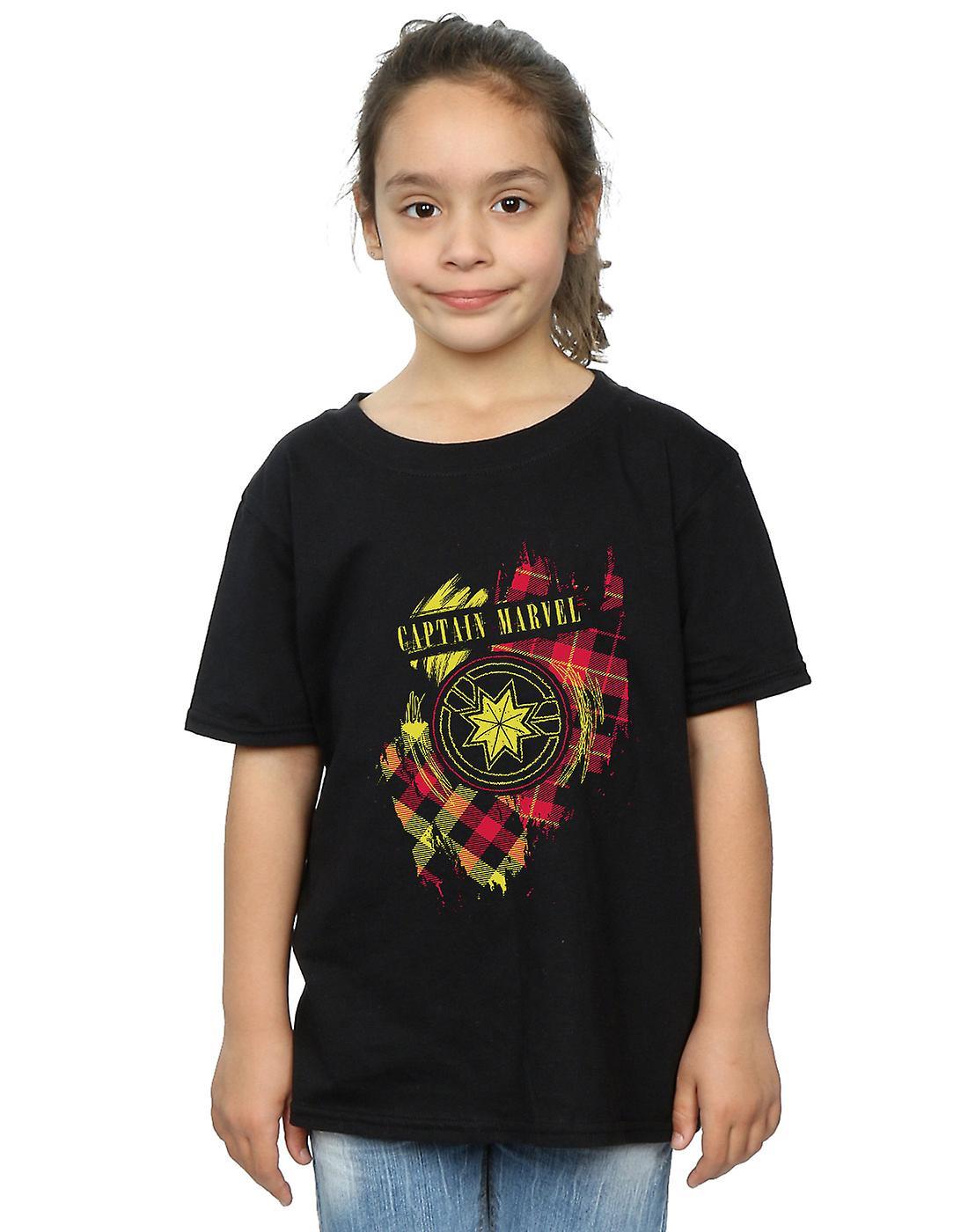 Marvel Girls Captain Marvel Tartan Patch T-Shirt