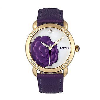 Bertha Daphne MOP nahka bändi Ladies Watch - violetti/valkoinen
