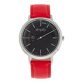 6500 革バンド腕時計 - 赤/黒を簡素化します。