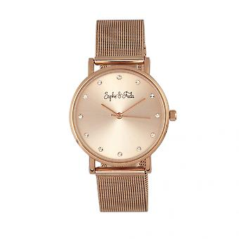 Sophie & Freda Savannah Mesh Bracelet Watch w/Swarovski Crystals - Rose Gold