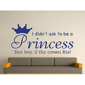 Ser una princesa v2 arte etiqueta de la pared - azul