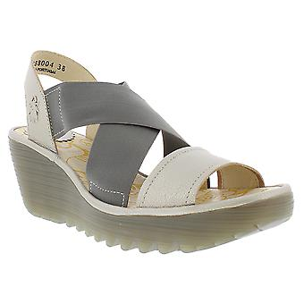 Womens Fly London Yaji Borgogna Leather Open Toe Cut Out Wedge Sandals