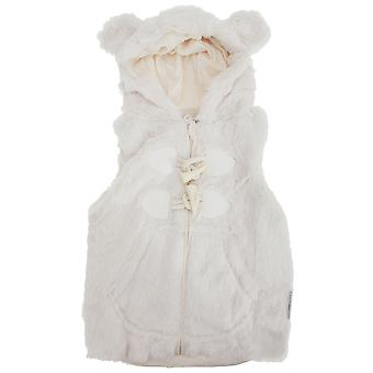 Baby Girls Hooded Faux Fur Winter Gilet With Toggle Fastenings