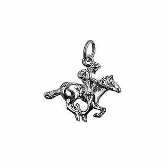 Серебряный 17x21mm Скачущую Лошадь и жокей кулон или очарование