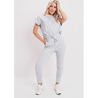 Boxy Short Sleeve Lounge Co Ord-Set grau