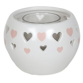 Aroma Cut Out Heart Tealight Holder, Pink