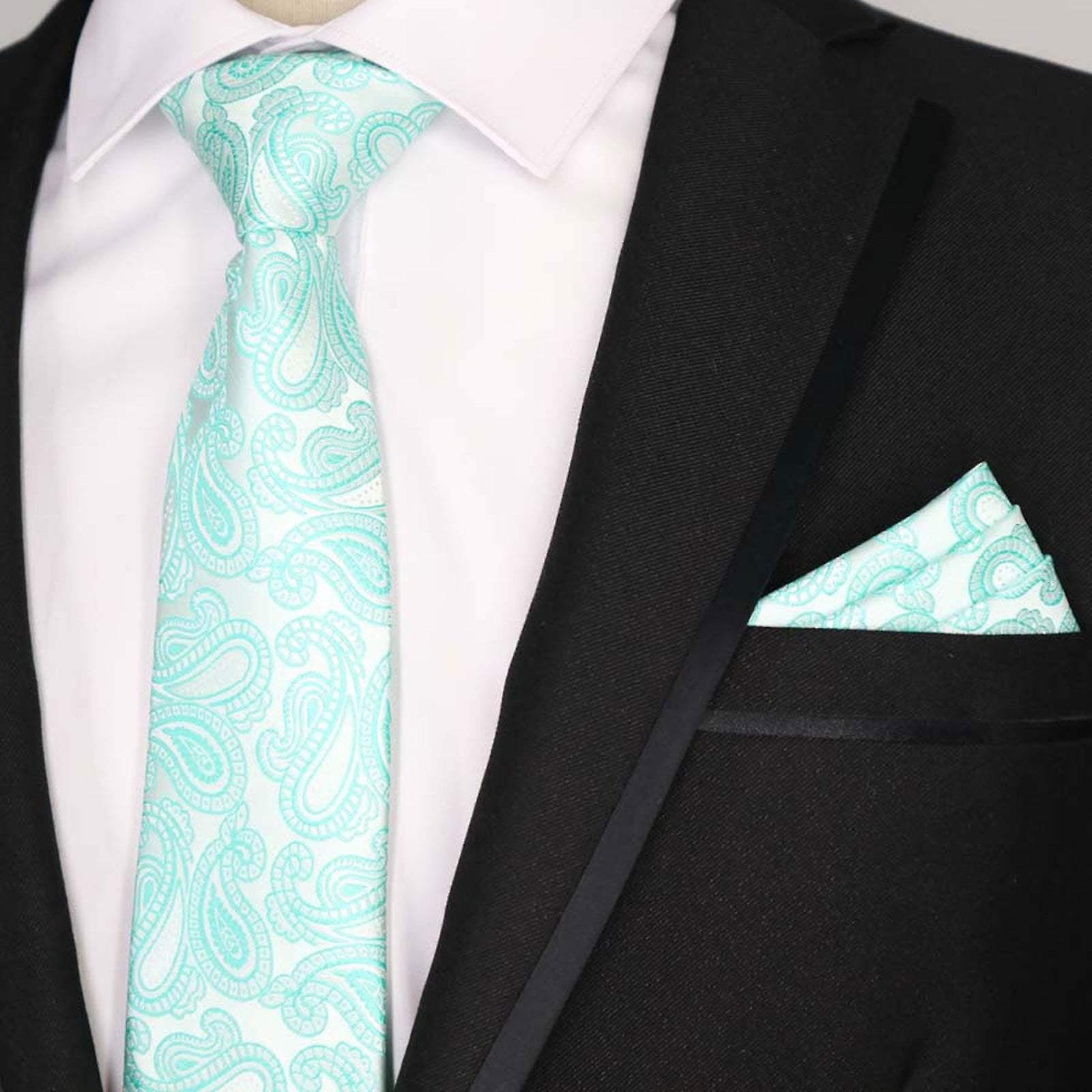 Turquoise paisley wedding necktie & pocket square set