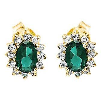 Ah! Jewellery Oval Emerald Genuine Crystals From Swarovski Stud Earrings