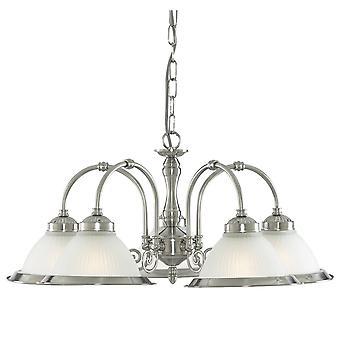 Zoeklicht Amerikaanse Diner Satin zilveren 5 licht met een arceringskleur die zure geribbeld glas