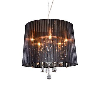 QAZQA Classic chandelier chrome with black shade - Ann-Kathrin 5