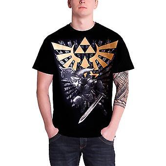 Men's The Legend of Zelda Black and Gold Link T-Shirt