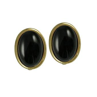 Ewige Sammlung Cabochon schwarz Onyx Goldton Stud Clip auf Ohrringe