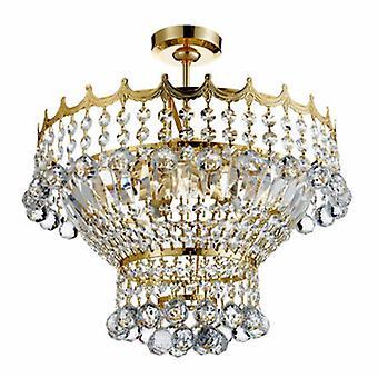 5 ljus kristall krona guld finish