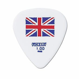 6 Pickboy Guitar Picks/Plectrums - Design Flag Union Jack White - Heavy 1.00mm
