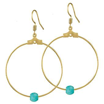 Eternal Collection Stylistic Turquoise Howlite Gold Tone Hoop Pierced Earrings