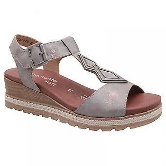 Remonte Pewter Wedge Elasticated Strap Sandal