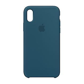 Alkuperäinen pakattu MR6G2ZM/A omena silikoni-mikro kuitu kotelo iPhone X-Cosmos sininen