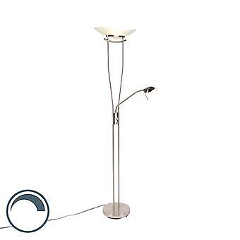 QAZQA Moderne lampe de plancher en acier incl. LED et gradateur - Lexus
