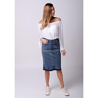 Mia raw hem denim skirt - midwash blue