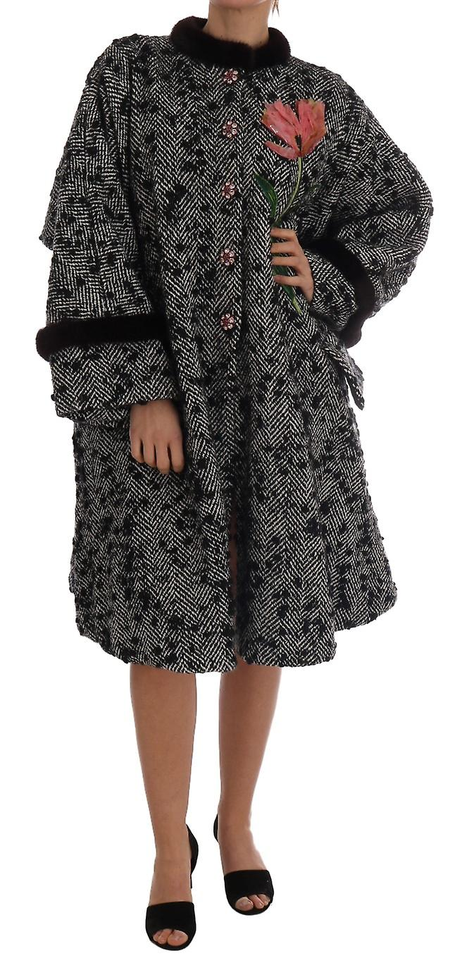 Black White Crystal Tulip Fur Coat