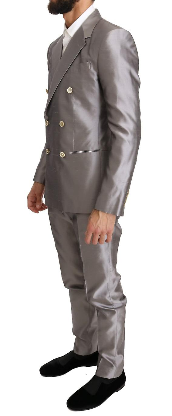 Silver Silk Double Breasted 3 Piece Suit