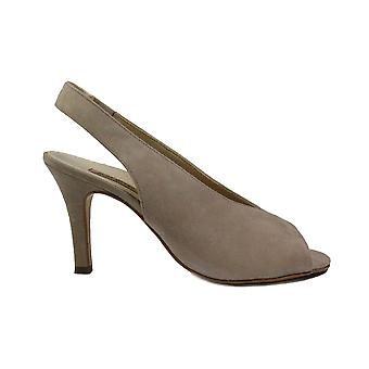 Paul Green 7475-00 Taupe Nubuck Leather Womens Stiletto Peep Toe Shoes