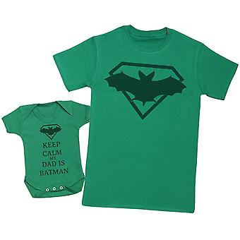 Keep Calm My Dad Is Batman Matching Father Baby Gift Set - Mens T Shirt & Baby Bodysuit