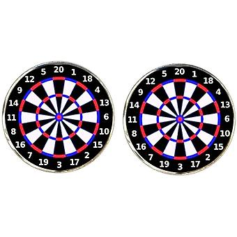 Bassin and Brown Dartboard Cufflinks - Black/White/Red